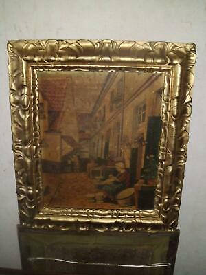 Late C19Th Early C20Th Dutch School Street Scene Oil Heavy Gilt Frame Signed