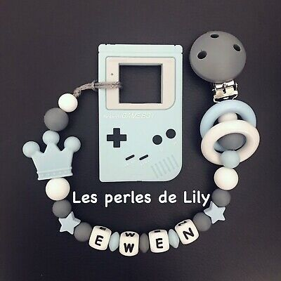 Attache Tetine Personnalisee Couronne Silicone Sucette+ Jouet Dentition Gameboy