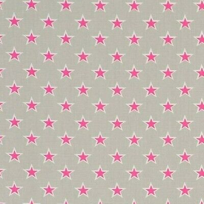 SHOOTING STARS GREY and Pink Cotton PVC WIPE CLEAN Tablecloth Oilcloth