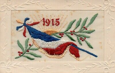 1915: French Flag: Ww1 Patriotic Embroidered Silk Postcard