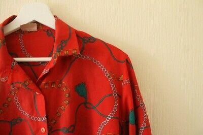 Vintage Ladies Red/Patterned Shirt Size 10-12 Retro Funky