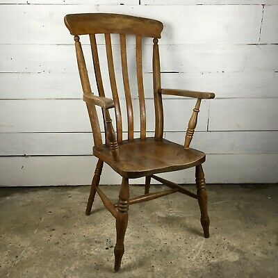 Early 19th C Elm Slat Back Grandfather Chair