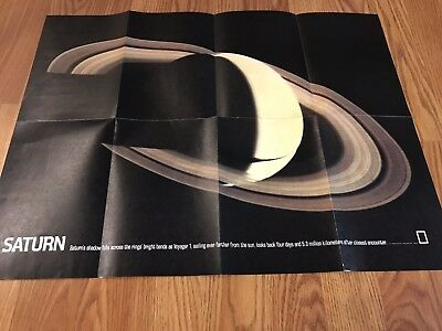 Vintage Map 1981 The Solar System & Saturn