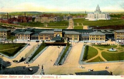Providence, Rhode Island - Union Railway Station and State House - c1905