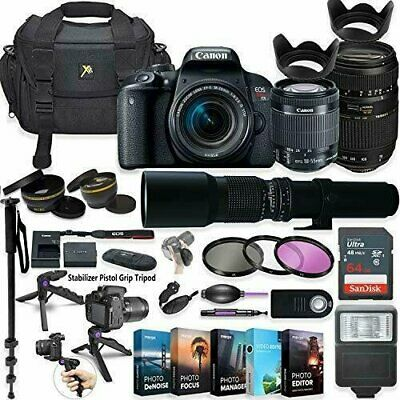 Canon EOS Rebel T7i DSLR Camera with (3) Lenses & Professional Accessory Kit