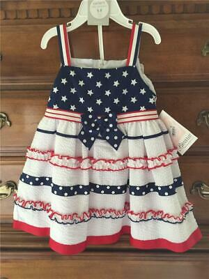 75ff8fb3f598 Bonnie Baby Girl 24 Month Dress Summer Sundress 4th of July Red White Blue  NWT