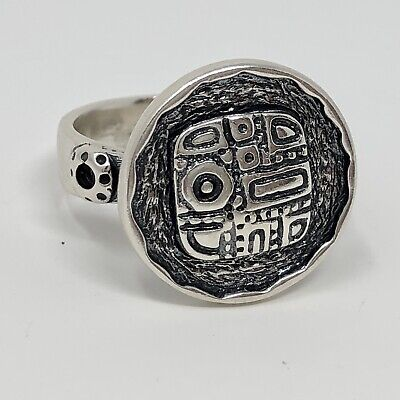 Retired Silpada Sterling Silver Aztec Mosaic Disk Ring Size 10 Tribal Signed