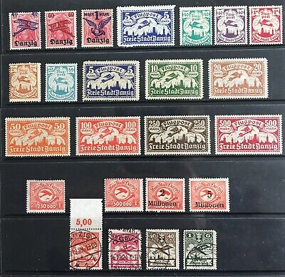 Germany: Free City of Danzig 1920-1924 Airmail issues MLH & Used