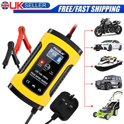 12V Car Battery Charger Automobile Motorcycle LCD Smart Battery Repair UK Plug