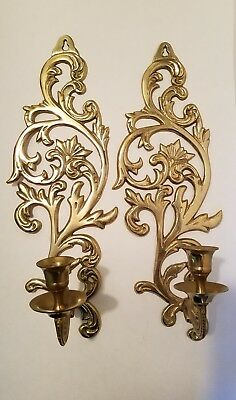 Vintage Pair Of Brass Wall Sconces Candle Holders