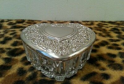 Vintage Powder Jar Dresser Vanity Trinket Box heart shaped Ornate