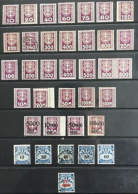 Germany: Free City of Danzig 1921-1923 Postage Due issues MLH & Used