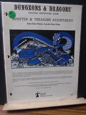 Z415)TSR Basic D&D NO;9047 1980 Monster & Treasure Assortments WITH MAP