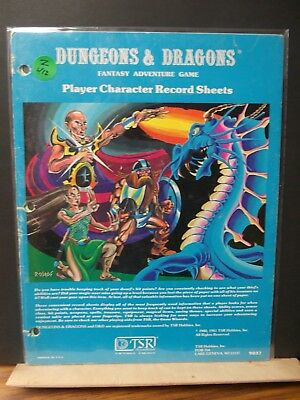 Z412 DUNGEON DRAGON TSR PLAYER CHARACTERE RECORD SHEET  NO;9037 (good!)