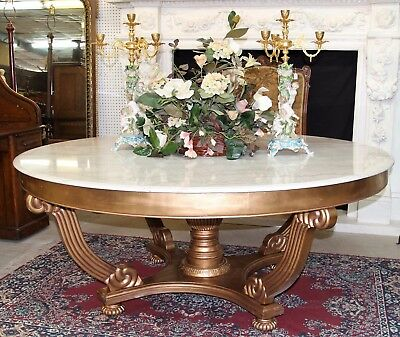 Superb Vintage French Gold Leaf Large 72″Round White Marble Entry/ Dining Table