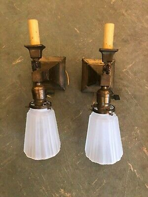 Pair Vintage Craftsman  Style Double Light Wall Sconces New Wiring Repro Shades