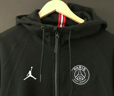 7d748941f NIKE Air Jordan PARIS SAINT GERMAIN Full-Zip Hoodie PSG Wings Black Jacket  L NEW
