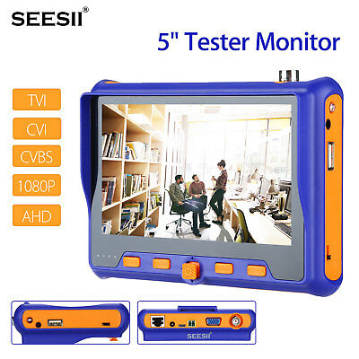 "5"" 1080P Camera Tester Monitor TVI CVI AHD Test HDMI Input Analog W/ BNC Cable"