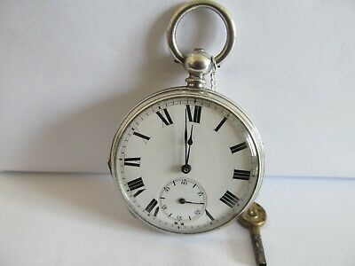 Antique pocket watch fine silver good condition and working