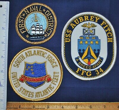 US NAVY PATCHES Lot - USS Aubrey Fitch, 1st Naval Dist , South Atlantic  Force