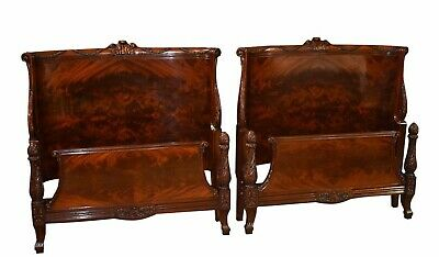 Vintage Spectacular Pair of Twin Ornate Regency Style Carved Mahogany Beds