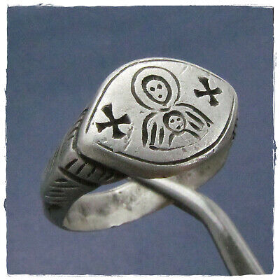 ** RELIGIOUS ** ANCIENT SILVER MEDIEVAL or BYZANTINE  RING!!!  7,27g