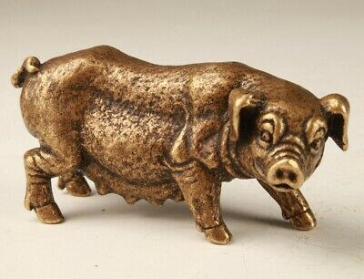 Rare Chinese Bronze Unique Hand-Carved Pig Statue  Figurine's Old Collection