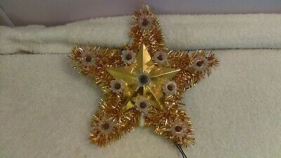 98b19fe104a84 VINTAGE ROSES STAR Christmas Tree Top Topper Lights Gold Tinsel ...