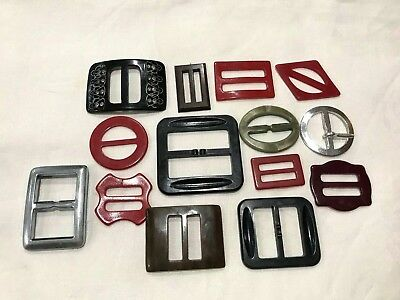 Vintage Plastic Belt Buckles Celluloid Lot of 14 (OB-5)