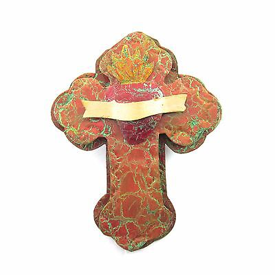 Sacred Heart Tin Milagro Mexican Folk Art Cross Wall Hanging Painted Ornament