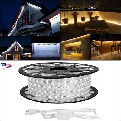 25M 5050 SMD LED Strip Rope Tape Lights Waterproof Bright Glow Outdoor Home USA