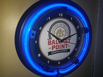Ballast Point San Diego Beer Bar Man Cave Advertising Blue Neon Wall Clock Sign