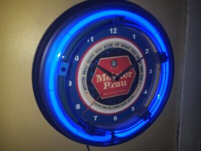 Meister Brau Chicago Beer Bar Man Cave Advertising Blue Neon Wall Clock Sign