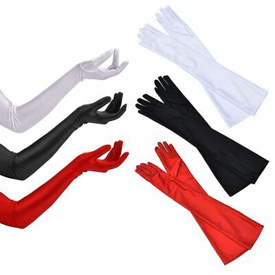 Classic LONG SATIN GLOVES Opera Costume Bridal Party Prom Wedding Womens Ladies
