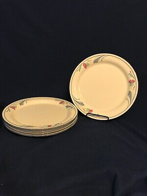 """Lenox Poppies On Blue Chinastone Dinner Plates 10 3/4"""" Floral Set 5 Excellent"""