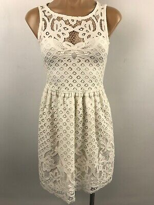 996dbb458 LOVE FIRE Lace Sleeveless Fit and Flare Dress Lined IVORY Size Junior XS