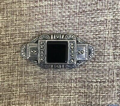 Silver Onyx And Marquseits Art Deco Brooch