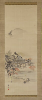 JAPANESE HANGING SCROLL ART Painting Scenery Asian antique  #E7402