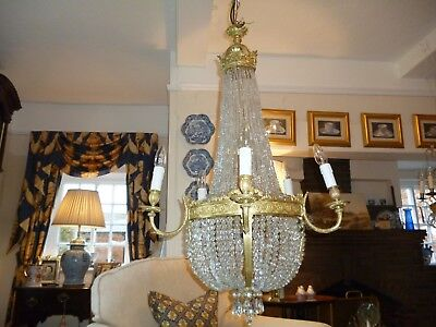 Empire Antique Tent And Bag Chandelier Ormolu And Lead Crystal Drops  /4035
