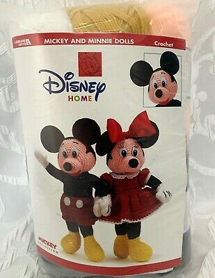 "Disney Home Crochet 18"" Mickey Mouse & Minnie Dolls 2001 Kit Complete with YARN"