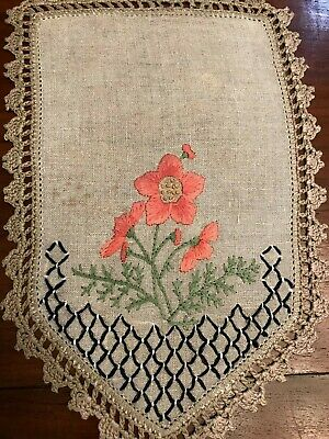 Vintage Linen Table Cover Chair Doily Ecru Embroidered Flowers (6)