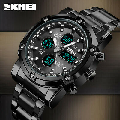 SKMEI Men Quartz Watch Outdoor Sport Digital Stainless Steel Wristwatch 1389 1A
