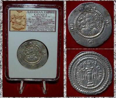 Ancient Silver  Coin SASSANIAN EMPIRE KAVAD I Fire Altar Second Reign Drachm
