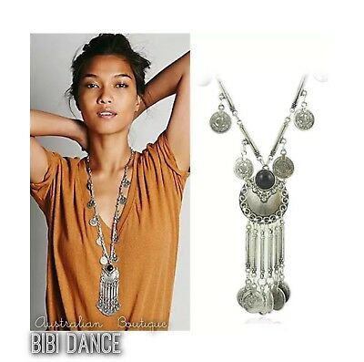 bellydance/ tribal/ Boho Silver Coin Necklace/  Bohemian Jewelry