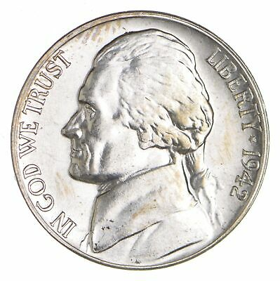 5c BU Unc MS 1942-S Jefferson WARTIME Silver Nickel *022