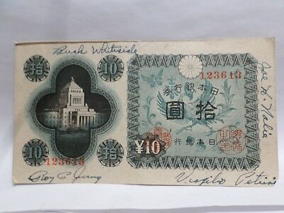 Old Japan 10 Yen Banknote, Military AUTOGRAPHS Yung Whiteside Nalia