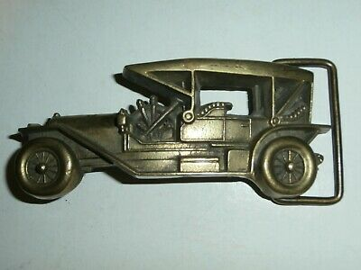 VINTAGE 1978 **ANTIQUE CAR** SOLID BRASS BARON BELT BUCKLE - Free Shipping
