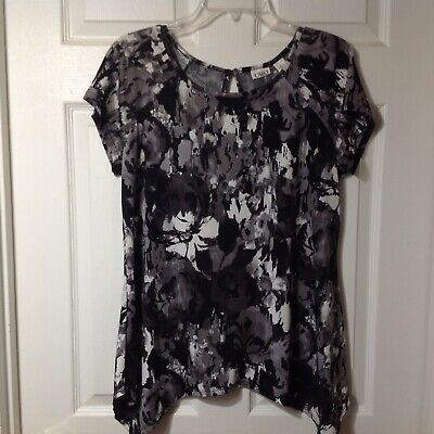 Cato Womens Short Sleeve Pullover Stretch Blouse Shirt Top, Size Large