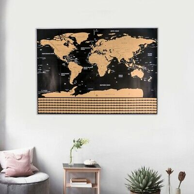 Scratch Off World Map Poster Journal Travel Log Map-Of The World Gift Home Decor