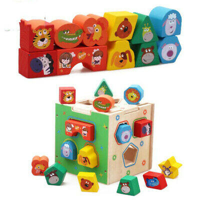 Shape Sorter Cube Children Learning Sorting Box with Stacking Blocks  Toys Q